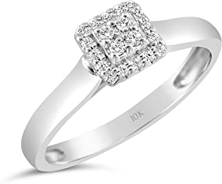 35d3c2f4e Brilliant Expressions 10K White Gold 1/8 Cttw Conflict Free Diamond Square  Halo Cluster Engagement