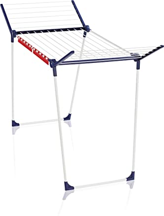Leifheit 81514 Pegasus 180 Classic Coated Steel Drying Rack with 18 m Drying Space - White/Blue