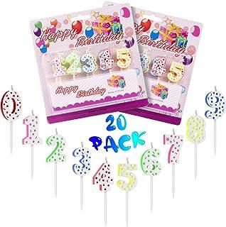 20Velas cumpleaños,Velas numeros Velas de Tartas Topper de Pastel Arco Iris de Número 0-9 Adornos para Favores de Fiesta de Cumpleaños