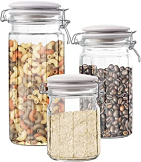 Style Setter Canister Set 3-Piece Glass Jars in 30oz, 50oz and 65oz Chic Design With Lids for Cookies, Candy, Coffee, Flour, Sugar, Rice, Pasta, Cereal & More