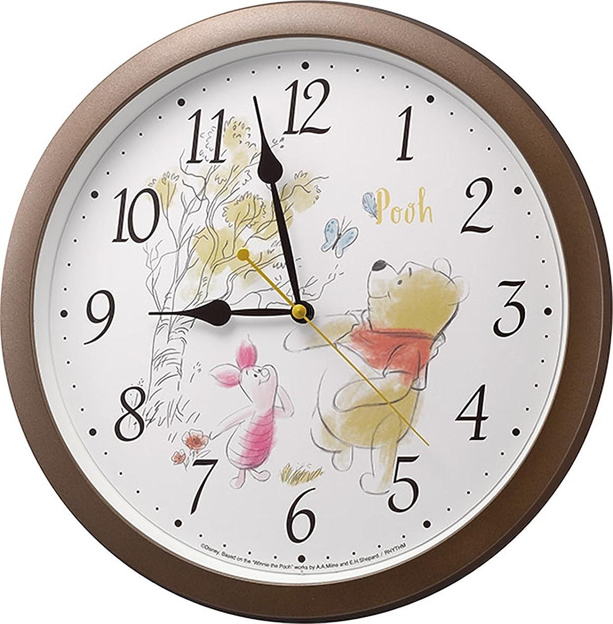 コンセンサス合唱団貴重なDisney (ディズニー) 掛け時計 キャラクター アナログ くまの プーさん Pooh M715 茶 リズム時計 4KG715MC06