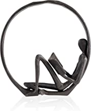 Danya B Small Iron Sculpture Accent Piece, Gift for Readers, Teachers, and More, Old-Fashioned Decorative Object for Home, Office, Table and Desktop Decor