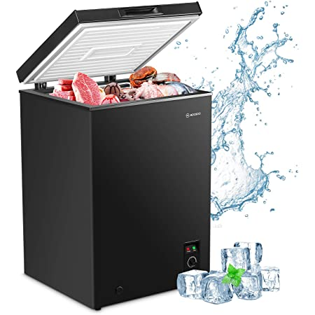 17.67 Large White 3.5 Cubic Feet with Removable Storage Basket Deep Freezer 7 Gears Temperature Control Energy Saving CSA Certificated MOOSOO Chest Freezer