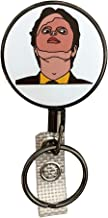 Balanced Co. Dwight Schrute Mask Heavy Duty Retractable Badge Holder Reel, Metal ID Badge Holder with Belt Clip Key Ring for Name Card Keychain