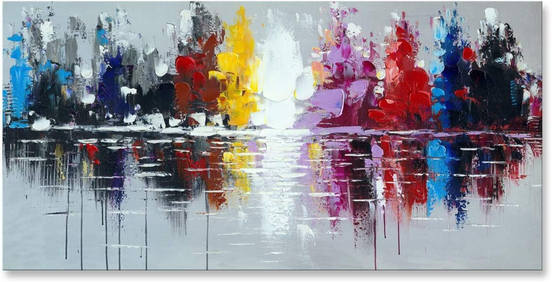 Handmade Oil Painting New York Max 46% OFF Abstract Artwork Today's only W Cityscape City
