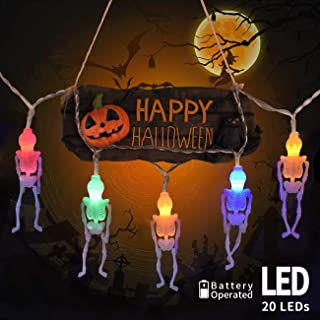 KNONEW Halloween Skeleton String Lights, 10ft 20 LED Battery Operated Halloween Lights with 2 Lighting Modes (Flash/Steady On) for Indoor Outdoor Halloween Decorations (Multicolor)