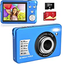 Digital Camera, Vologging Camera 30MP 2.7 Inch with 8X Digital Zoom Compact Camera with 32 GB SD Card and 2 Batteries (Blue)