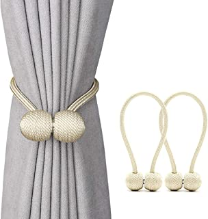 Magnetic Curtain Tiebacks 2 Pack Convenient Drape Tieback Decorative Rope Hold-back Holder for Big, Wide or Thick Window D...