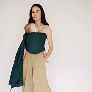 WildBird Ring Sling Baby Carrier Made from 100% Belgian Linen - Solid Color, Newborns to Toddlers - (Cayana Fabric/Rose Gold Ring)
