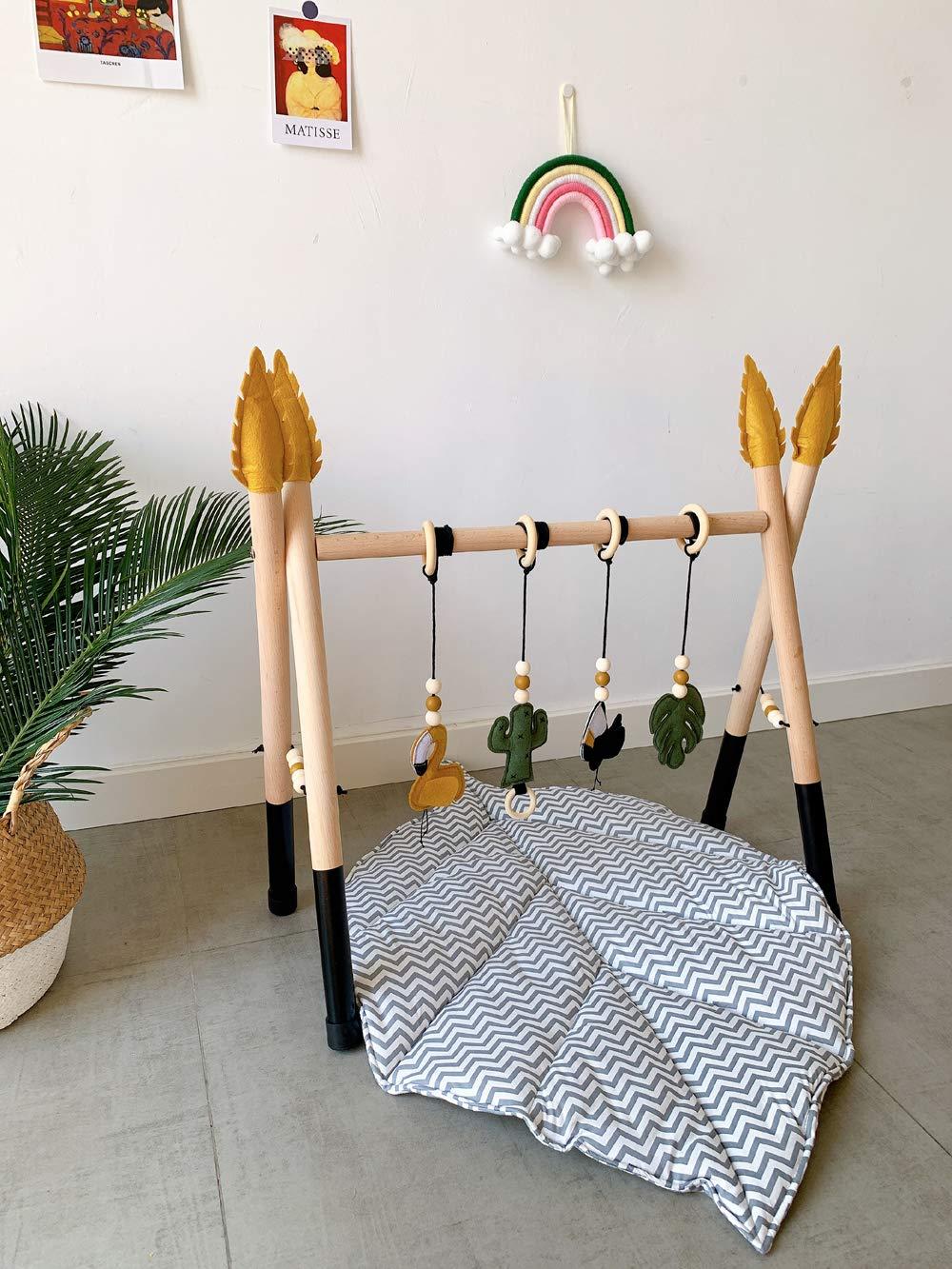 B, Streifen HB.YE Home Kinderteppich,Weicher Kriechender Teppich,Spielmatte//Waschbarer Kinderzimmer Teppich//Blattmuster//Gr/ö/ße:87/×65cm//Gewicht/:205g