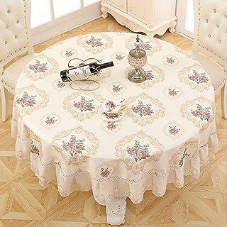 Meioro テーブルクロス 円形 テーブルカバー 撥水加工 5色選択 サイズ選択可能 インテリア用品 多用途 (杏1, 直径180cm)