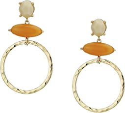 Double Stone Ring Drop Earrings