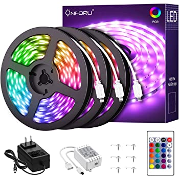 Onforu LED Lights for Bedroom 50ft, 15m RGB Strip Lights with Remote, Color Changing Rope Lights with 450 Units 5050 LED, 24V Colored Room Lights, Adhesive Tape Light for TV, Ceiling, Cupboard, Bar