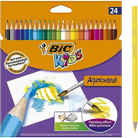 BIC Kids Aquacouleur Crayons de Couleur Aquarellables (Effet Peinture) - Couleurs Assorties, Etui Carton de 24