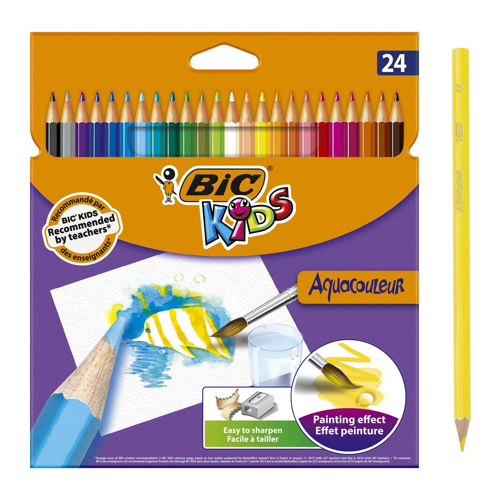 BIC Kids Aquacouleur Lápices Acuarelables Efecto Pintura - colores Surtidos, Blíster de 24 unidades: Amazon.es: Oficina y papelería