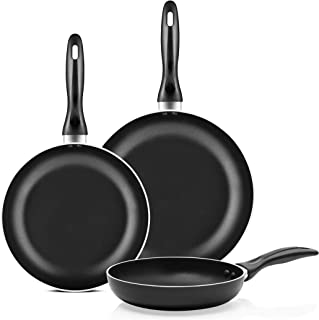 Chef`s Star 3 Pieces Non-stick Frying Pans Skillet Sets Cookware, Induction Bottom Sizes: 8 inch, 9.5 inch and 11 inch, Ea...