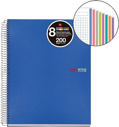 Basicos MR 42005�Notizblock���8�Farben, A5, 200�Blatt kariertes Papier, Polypropylen-Deckel, Blau