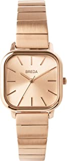 BREDA Women's Esther 1735 Square Wrist Watch with Stainless Steel Bracelet, 26mm