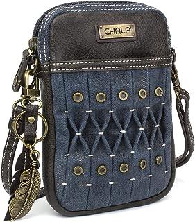 Chala Cell Phone Crossbody Purse - Handbag with Adjustable Strap - Feather Keychain - Blue