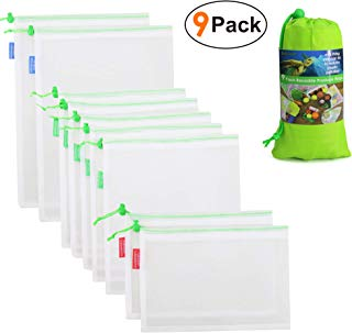BeeGreen Reusable-Produce-Bags-Washable 9 Pack 100% Food Contact Safe Eco Friendly Zero Waste See Through Mesh Produce Bags for Grocery Shopping Storage Fruit Vegetable Large Medium Small
