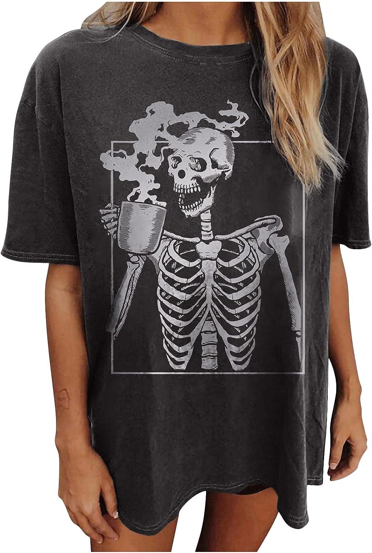Oversized Tshirts for Women Skeleton Man Drinking Tea Print Shirt Retro Drop Sleeve Tees Loose O Neck Blouse