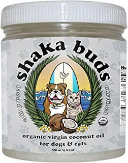 Shaka Buds Coconut Oil for Dogs and Cats (16.9 oz.) USDA Certified Organic | Pure, Cold-Pressed, Extra Virgin | Relieve Dry, Itchy Skin | Promote Shinier, Healthier Coats