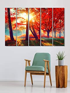 999Store house decorating things painting for living room with frame Red leaves tree forest wall art panels hanging painti...