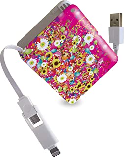 巻取りケーブル 2in1 水彩 ヒマワリ ピンク 充電ケーブル ライトニングケーブル/MicroUSBケーブル 180cm データ転送 花柄 フラワー 向日葵 花 充電器