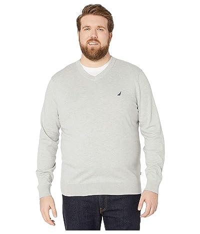 Nautica Big & Tall Big Tall V-Neck Navtech Knit Sweater (Grey Heather) Men