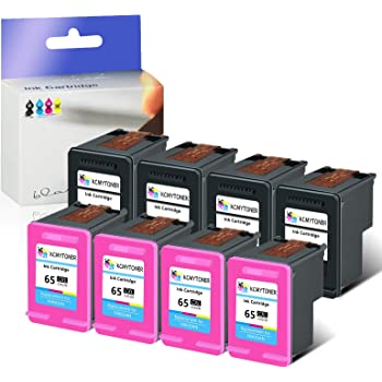 KCMYTONER 10 Pack High-Yield Remanufactured Tir-Color Ink Cartridge Replacement 65 XL 65XL N9K03AN Ink Level Used with Deskjet 3755 3720 3721 3730 3732 3752 3758 Printer