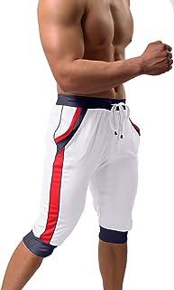 BIYLACLESEN Men's 3/4 Running Pants Gym Workout Breathable Mesh Capri Jogger Shorts