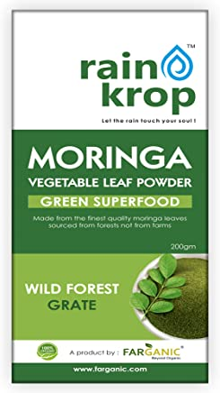 Rainkrop Organic Moringa Leaf Powder 200 Gram. Moringa Powder made with Moringa leaves sourced from forest not from farm. Moringa Leaf Powder Organic for weight loss.