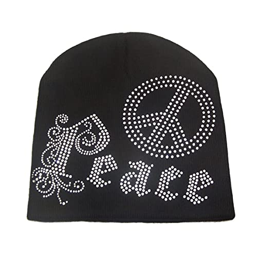 4c310e1862f Gothic Peace Logo Rhinestone Ski Knit Beanie Skull Hat