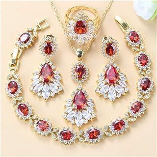 مجموعة مجوهرات كريستال الزركون ، أربع قطع مجوهرات مجوهرات الزفاف للنساء يانجين (اللون: أحمر، 4 قطع، الحجم: 7)