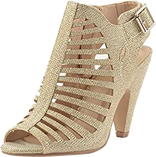 Women's Caged Cutout Buckled Ankle Strap Chunky Tapered High Heel Ankle Bootie