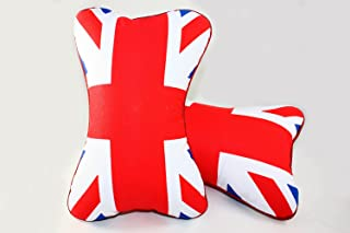 Cuztom Tuning Pair Blue Red UK Flag Union Jack Seat Headrest Cushion Neck Pollow Fits for 2002-2018 Mini Cooper