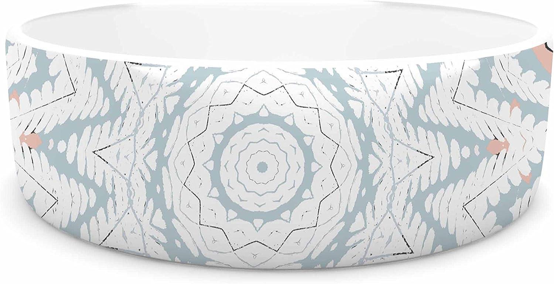 KESS InHouse Alison Coxon Plant House Mandala Coral bluee Digital Pet Bowl, 7  Diameter