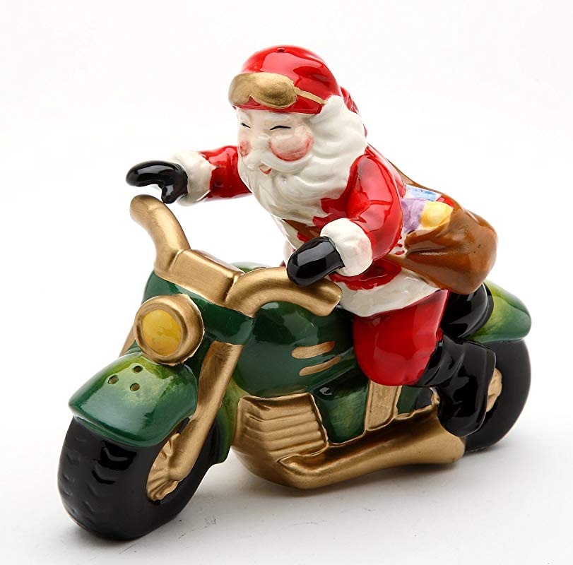 Cosmos Gifts 10584 Fine Ceramic Chopper Santa Claus Riding Motorcycle Delivering Presents Salt And Pepper Shakers Set 4 1 8 L