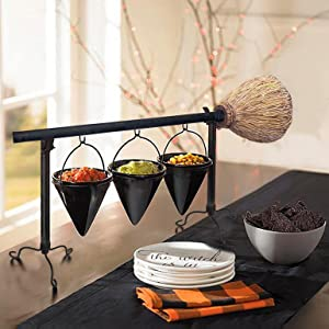 Halloween Broomstick Snack Bowl Stand with Removable Basket Organizer, Halloween Snack Bowl Stand for Biscuit Dessert Snack Storage for Halloween Festival Wedding Party Use (3 Bowl)