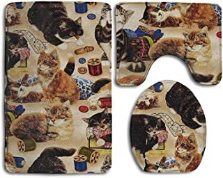 HDISJHF Non-Slip Absorbent Super Cozy Flannel Bathroom Rug Carpet Toilet Seat Cover and Rug with Sew Curious Cats and Sewing Notions Tan Pattern