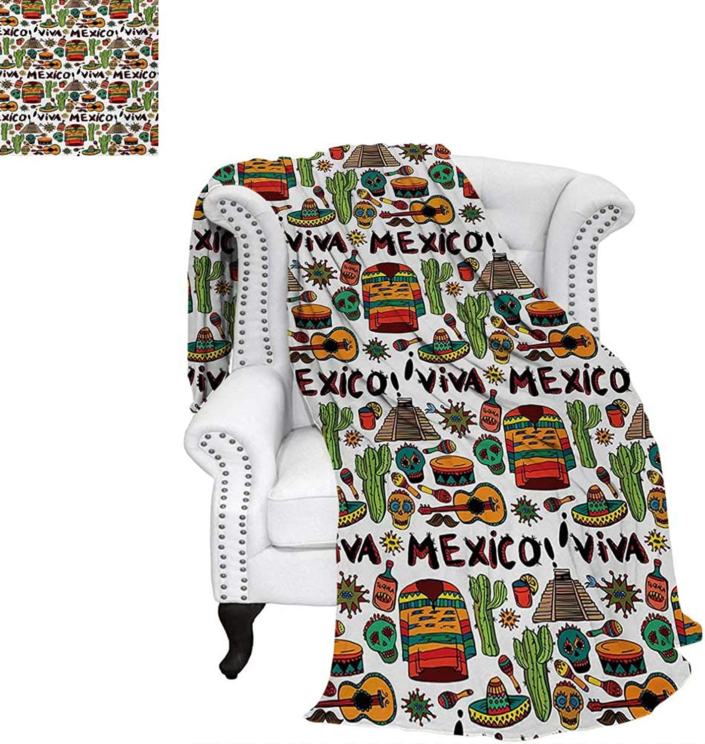 Mexican Summer Quilt Comforter Viva Mexico Native Elements Poncho Tequila Salsa Hot Peppers Image Digital Printing Blanket 60 x50  Multicolor