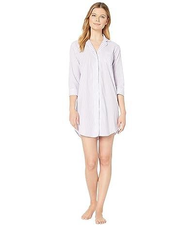 LAUREN Ralph Lauren Classic Wovens 3/4 Sleeve Pointed Notch Collar Sleepshirt (Lilac Stripe) Women