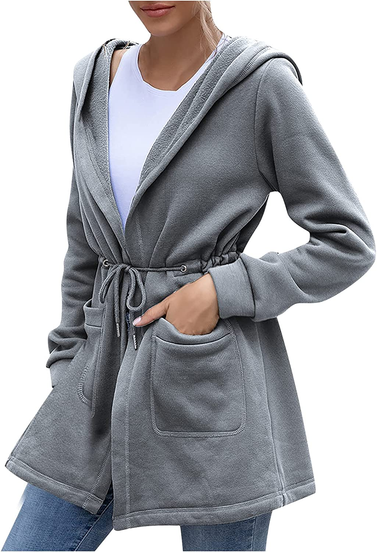 Women Casual Lightweight Solid Color Mid-Length Hooded Windbreaker Jacket Raincoat