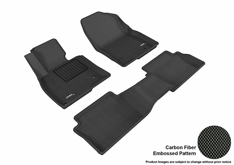 3D MAXpider Complete Set Custom Fit All-Weather Floor Mat for Select Mazda3 Models - Kagu Rubber (Black)