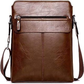Herren Ledertasche Umhängetasche Klein Vintage Messenger Bag Für 9.7 Zoll Ipad Moderne Leder Schultertasche,Braun,Black,29...