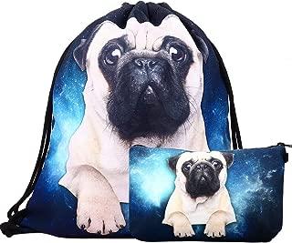 2-piece set Waterproof Drawstring Bag for Girls,Print Backpack Travel Gym Bags (Pug)