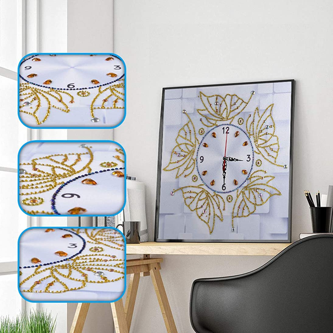 Amersin DIY 5D Special Shaped Diamond Painting by Number Kits, Full Drill Rhinestone Embroidery Cross Stitch Pictures for Christmas Home Decor (Clock 7)