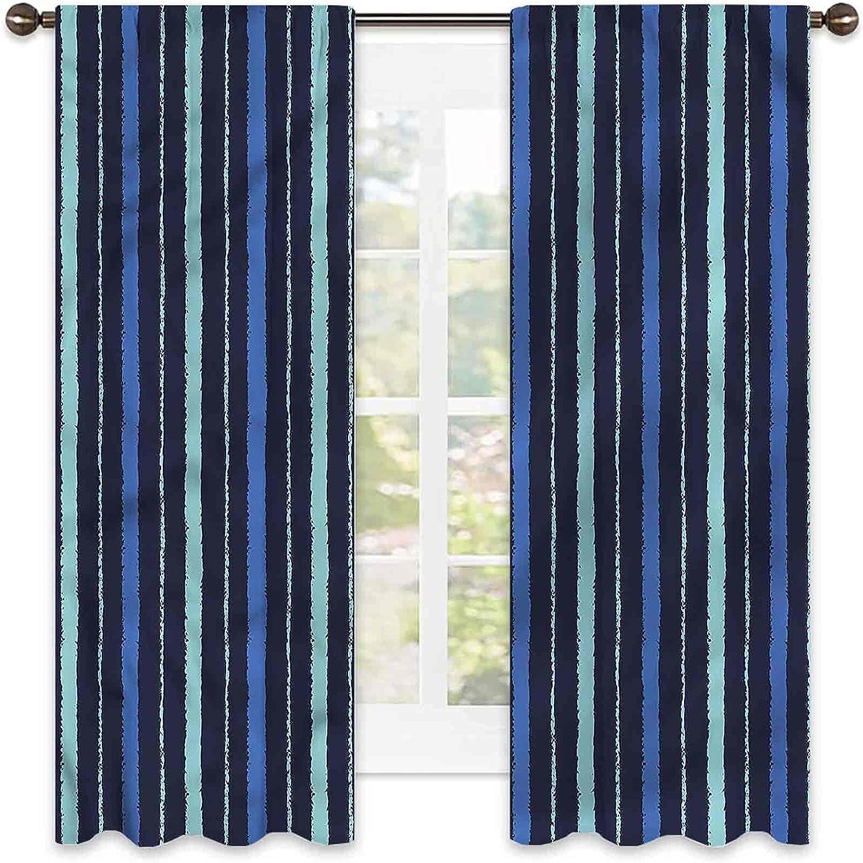 Blue 90% Blackout Popular popular Curtains Stripes Navy Design Sea Cheap bargain Set Life of