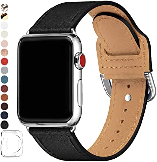 POWER PRIMACY Bands Compatible with Apple Watch Band 38mm 40mm 42mm 44mm, Top Grain Leather Smart Watch Strap Compatible for Men Women iWatch Series 5 4 3 2 1(Black/Silver,38mm 40mm)