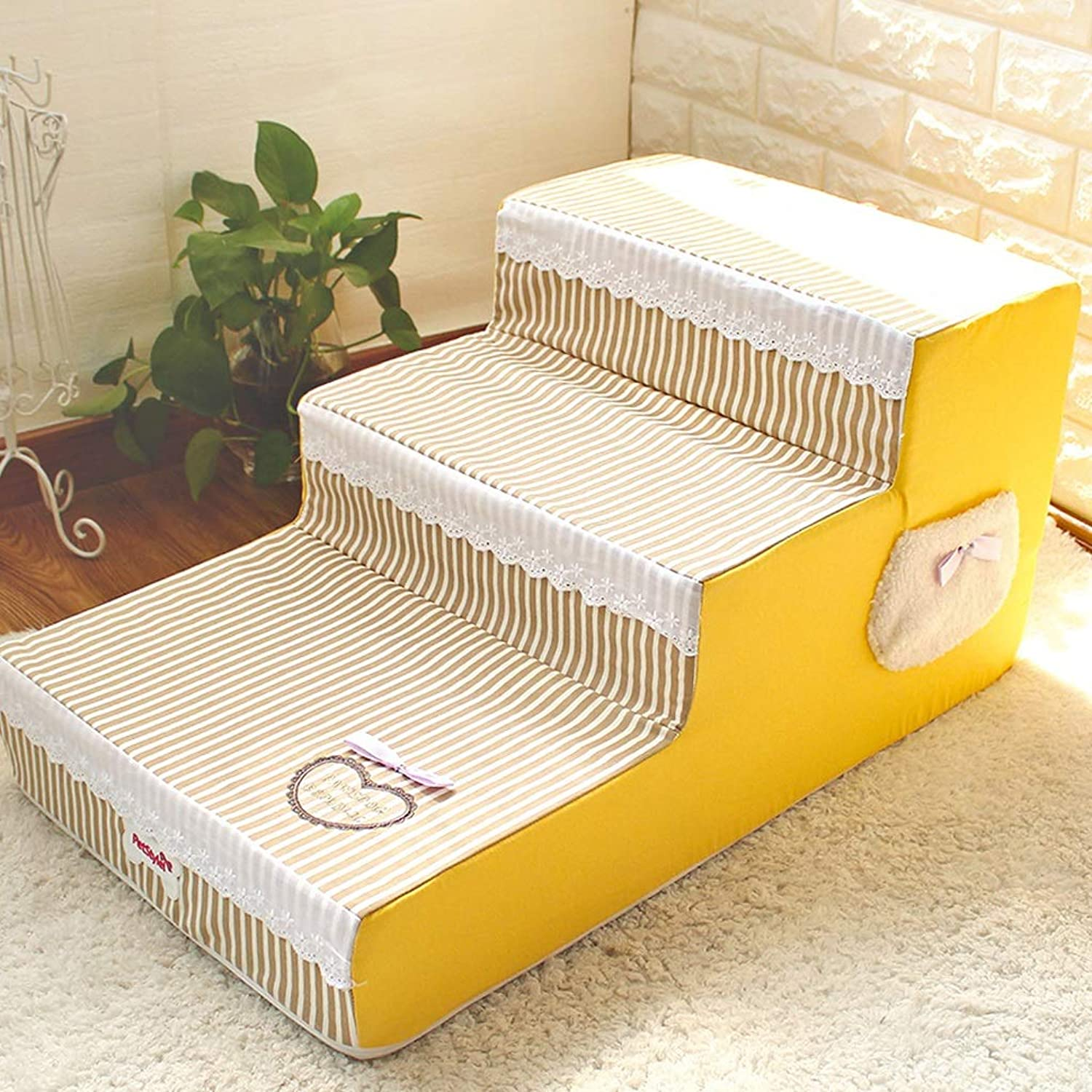 NYDZDM Pet stairs Dog Stairs Sponge Stairs Small Dogs Sofa Bedside Stairs Detachable Ladder, Yellow
